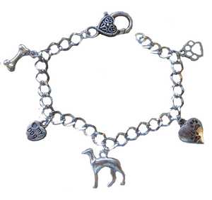 Vintage Hound Charm Bracelet With Antique Silver Finish