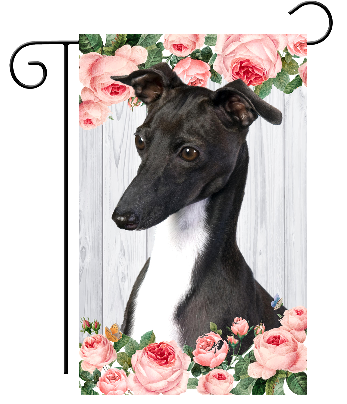 Rose Fence Greyhound Garden Flag