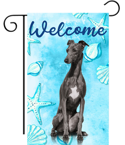 Welcome Black Greyhound Ocean Garden Flag