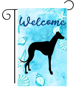 Welcome Black Greyhound Silhouette Ocean Garden Flag