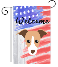 Patriotic Welcome Fawn Cartoon Greyhound Garden Flag