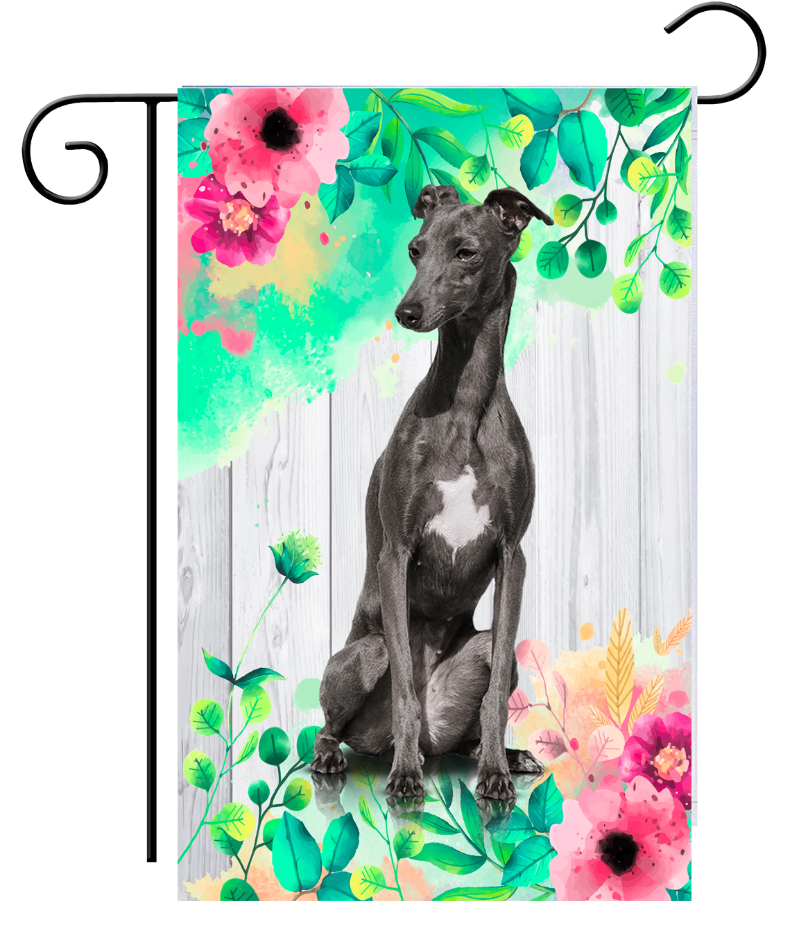 Spring Black Greyhound Garden Flag