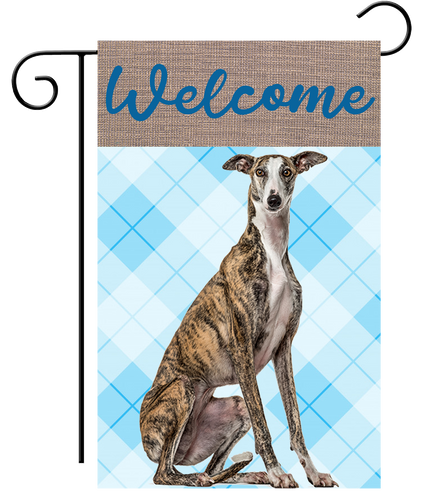 Welcome Brindle Blue Plaid Greyhound Garden Flag