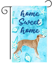 Welcome Fawn Greyhound Silhouette Ocean Garden Flag