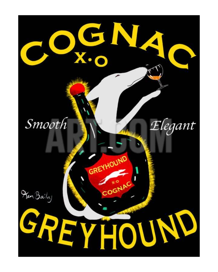 Hand Painted Greyhound Cognac Canvas