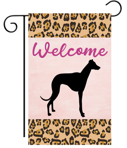 Welcome Leopard Black Silhouette Greyhound Garden Flag