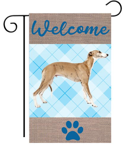 Welcome Fawn Blue Plaid Greyhound Garden Flag