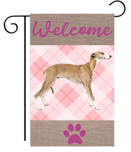 Welcome Pink Plaid Fawn Greyhound Garden Flag