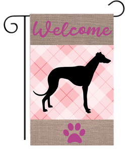 Welcome Pink Plaid Greyhound Garden Flag