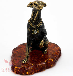 Solid Brass Amber Greyhound Figurine