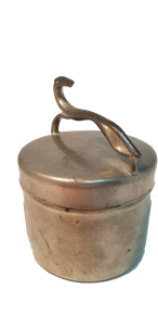 Vintage Gimble Brothers Pewter Gentlemen's Dresser Canister w/Art Deco Greyhound