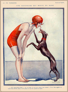 1920's La Vie Parisienne Greyhound French Travel Poster