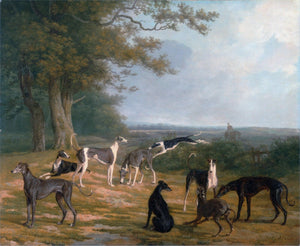 "1807 Jacques-Laurent Agasse ""Nine Greyhounds in a Landscape"""