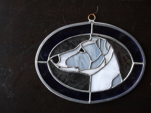 Handmade Greyhound Original Design, Stained Glass by Ingrid Jonsson