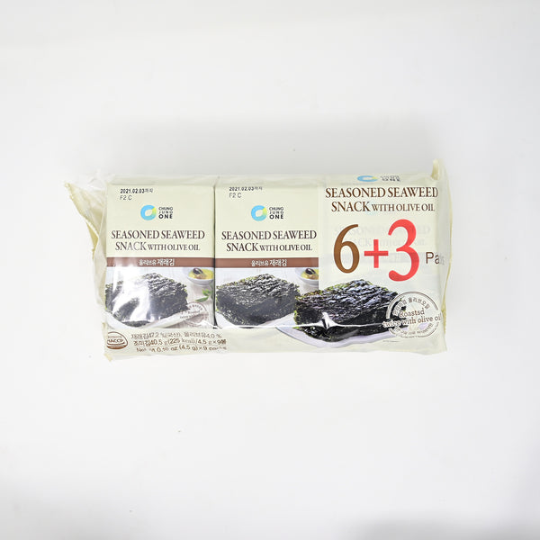 청정원 올리브유 재래 김 - SEASONED SEAWEED SNACK WITH OLIVE OIL (4.5g x 9 packs)