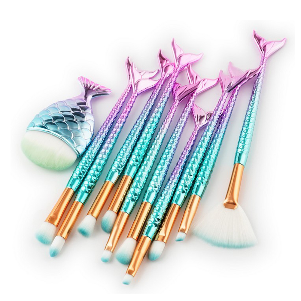 Rainbow Fish Tail Makeup Brush Set (15 pcs)