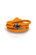 Load image into Gallery viewer, orange leather blue charm