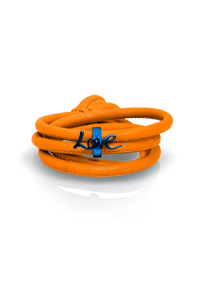 orange leather blue charm