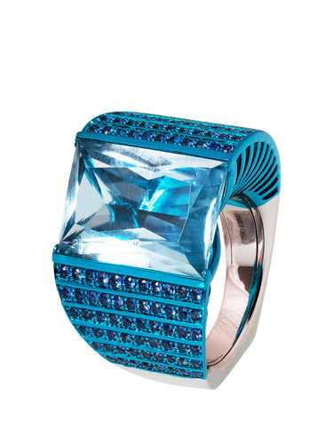 Off-Center London Blue Topaz Ring