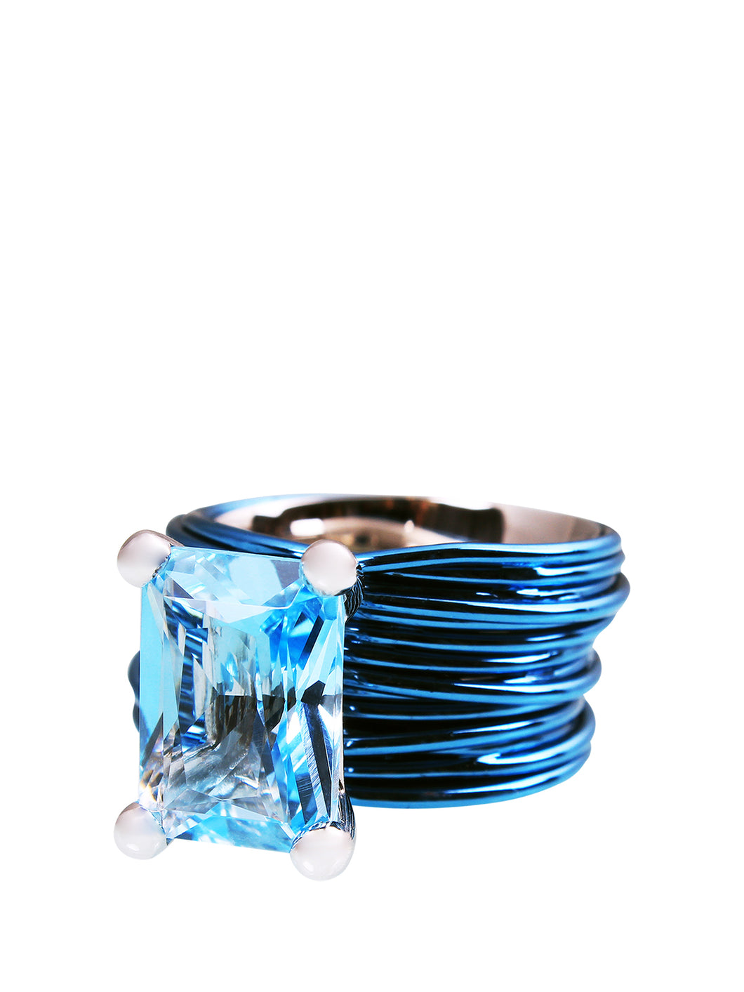 The Wire Ring with London Blue Topaz