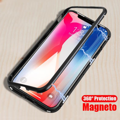 Luxury Magnetic Absorption Metal iCase w/ Tempered Glass Cover for Iphone