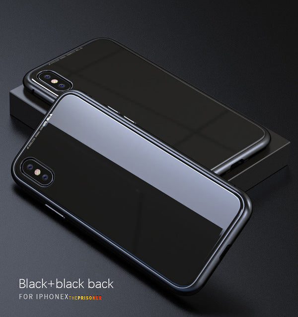 buy online 17c37 5922d Luxury Magnetic Absorption Metal iCase w/ Tempered Glass Cover for Iphone