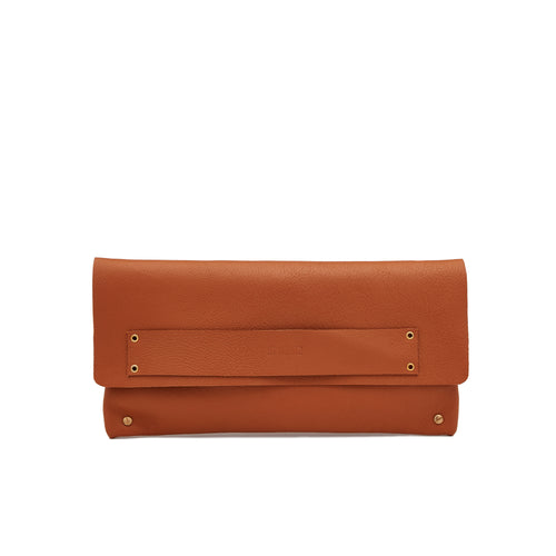 The Classic Clutch in Burnt Tan