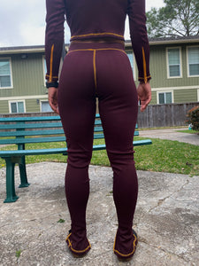 Ribbed Zipper Joggers | Burgundy x Gold