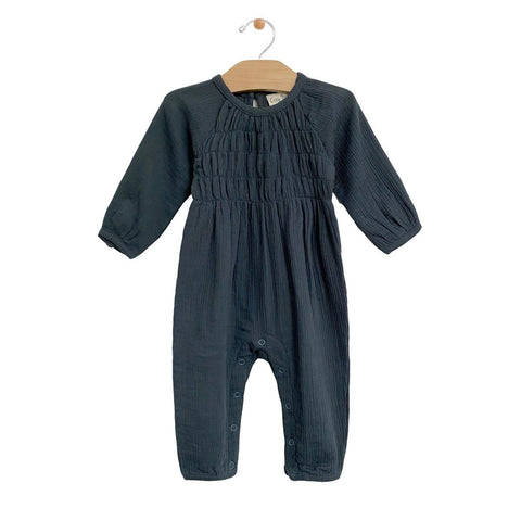 Smocked Romper: Storm Cloud