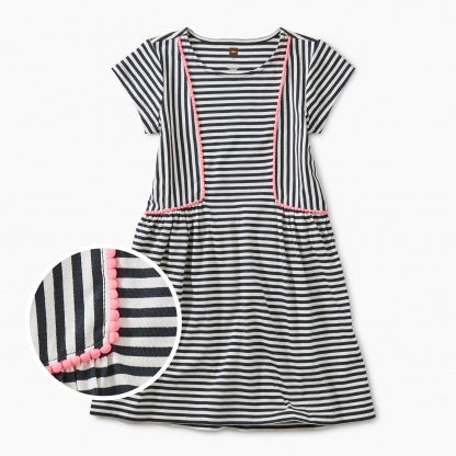 Pom Pom Striped Skirted Dress