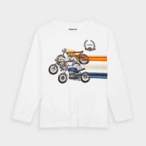 Cream Long Sleeve Race T-shirt