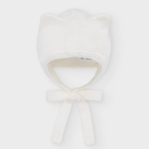 Knit Kitty Bonnet: Off White
