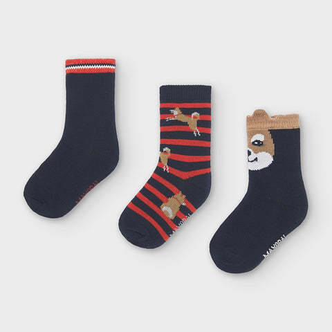 "Blue set of 3 socks ""shiba"""
