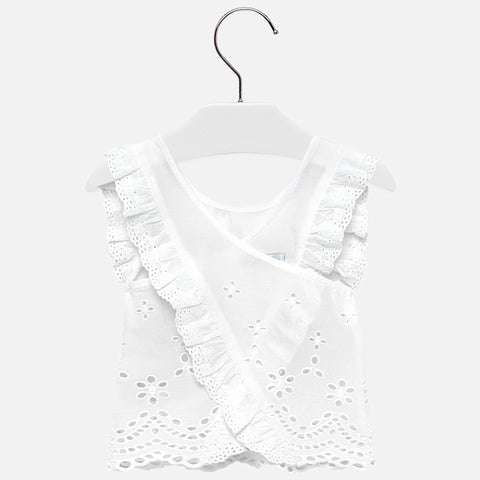 Embroidered loose shirt White