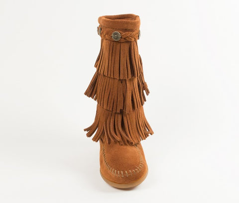 Minnetonka 3 Layer Fringe Boot - Cupcake