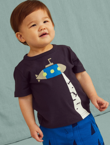 Glow In The Dark Submarine Baby Tee: Indigo