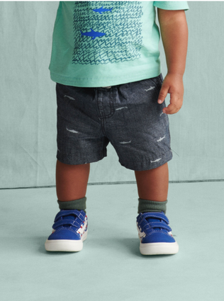 Chambray Discovery Shorts: Sharks