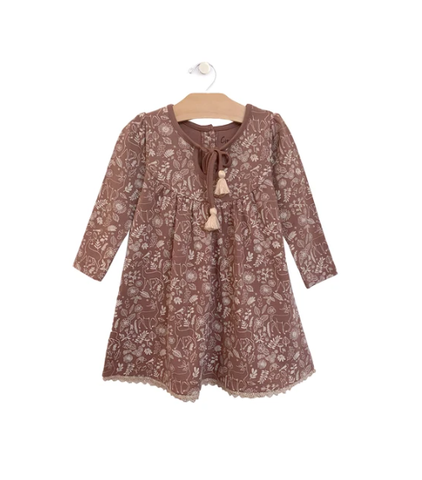 Lace Hem Dress: Ditsy Deer