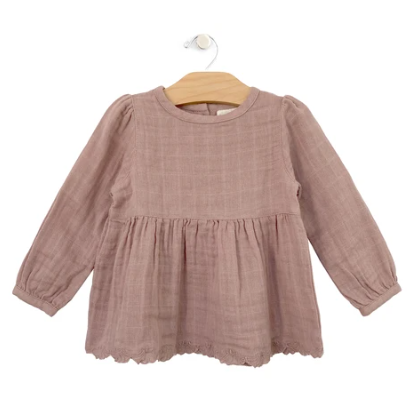 Muslin Lace Hem Tunic Polkadots: Dusty Rose