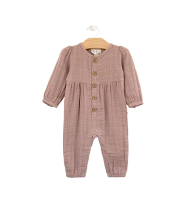Muslin Button Romper Polkadots: Dusty Rose