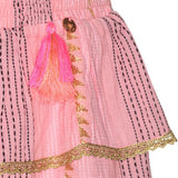 Pink Mim Skirt decorated with gold accents