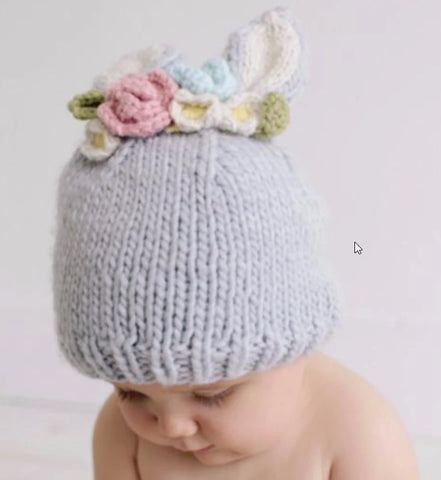 Bunny With Flowers Gray Hat