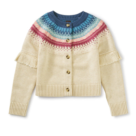 Fairisle Fringe Cardigan: Oatmeal Heather