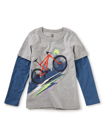 Heavy Pedal Layered Graphic Te: Med Heather Grey