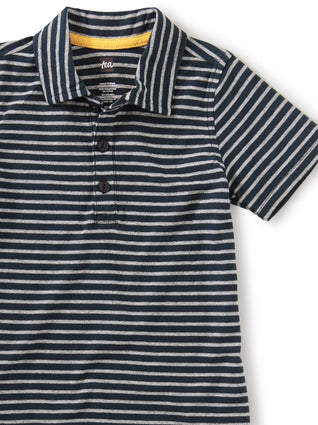 Striped Polo: Heritage Blue