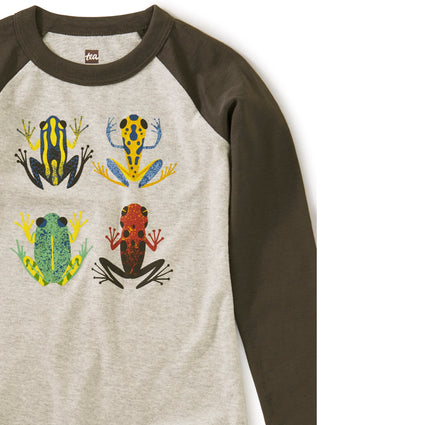 Cloud Forest Frogs Raglan Grap: Med Heather Grey