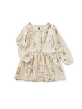 Button Front Baby Dress: Llama Love