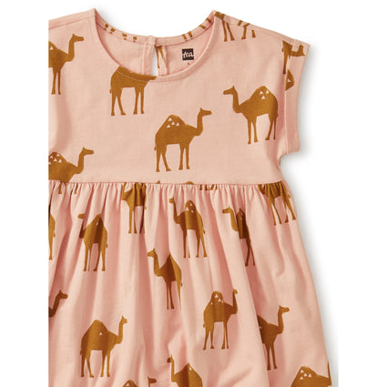 Empire Dress: Oasis Camel - Dusty Coral