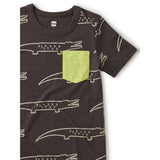 Printed Pocket Tee: Crocodiles