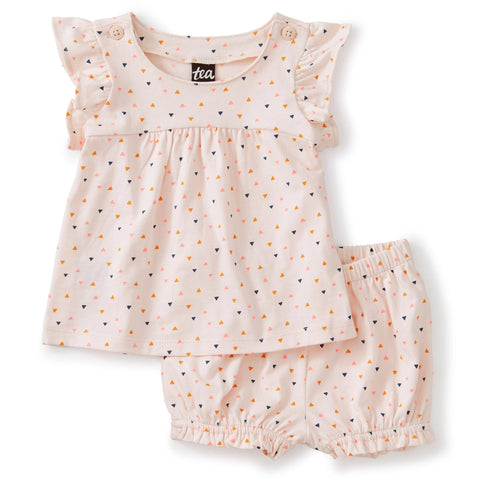 Button Shoulder Baby Set: Confetti - Crystal Pink